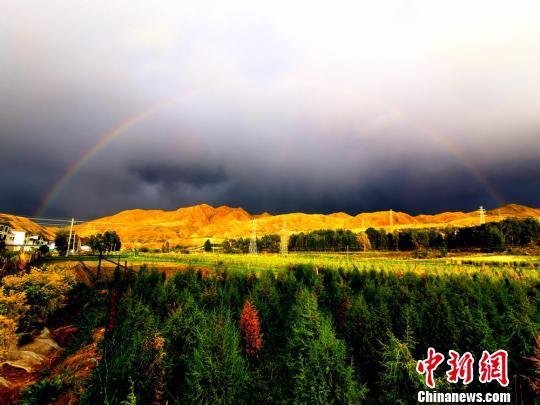 甘肃肃南祁连山下雪山草原万里绿海