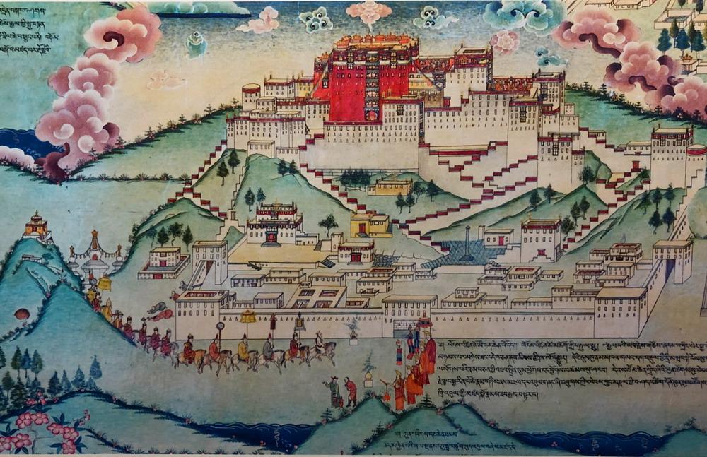 九世达赖喇嘛前往布达拉宫坐床(罗布林卡壁画)他抱起。楚翘 摄.jpg