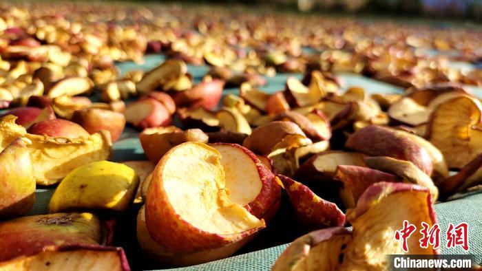 图为通麦村村民晾晒的切片苹果。 贡桑拉姆 摄