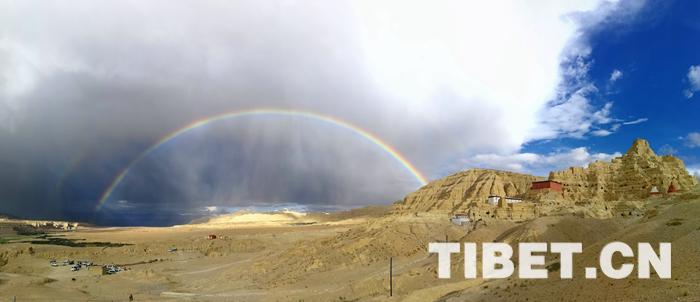 游在西藏阿里|古格王朝遗址旁 惊现双彩虹