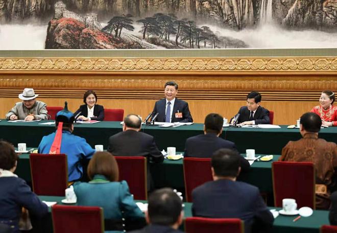 2019年3月5日,冠亚br88参加十三届全国人大二次会议内蒙古代表团的审议。